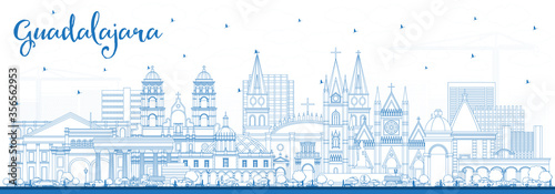 Outline Guadalajara Mexico City Skyline with Blue Buildings.