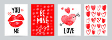 Set Of Valintine Day Cards. Lo...
