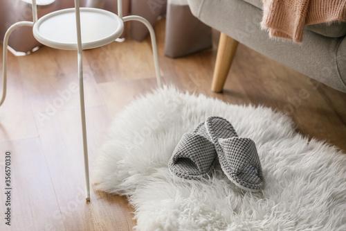 Fotografiet Pair of soft slippers on floor