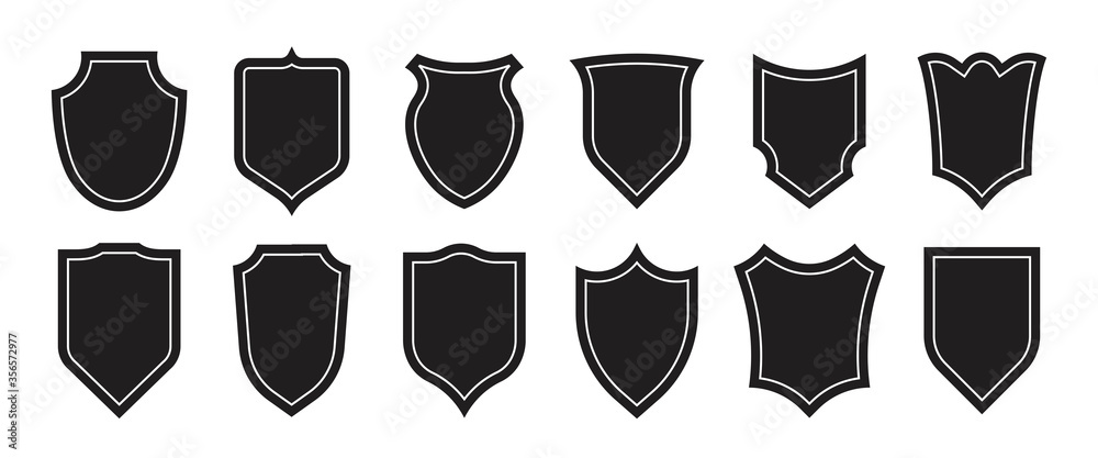 Fototapeta Authority insignia set. Police department badge silhouettes, military heraldic shields. Vector illustrations for football club patches design, patrol emblem shapes, protection, guard concept