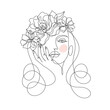 Beauty woman face with flowers one line drawing art. Abstract minimal portrait continuous line. Minimalist Orchids flowers in hair Vector illustration