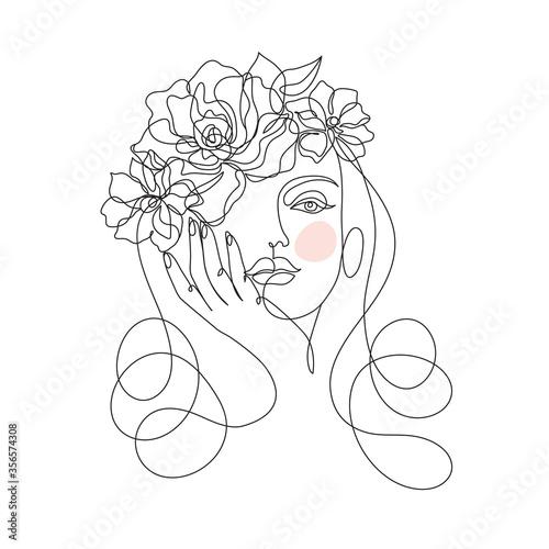 Cuadros en Lienzo Beauty woman face with flowers one line drawing art