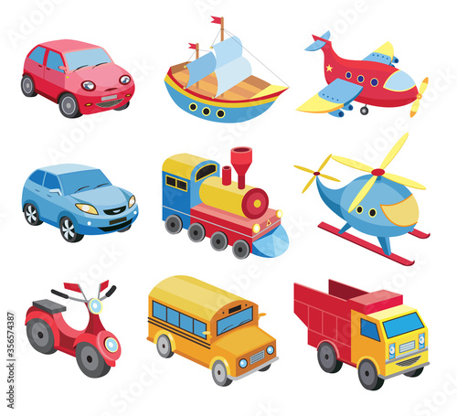 Cuadros en Lienzo set of transport icons isolated on white (vector illustration)