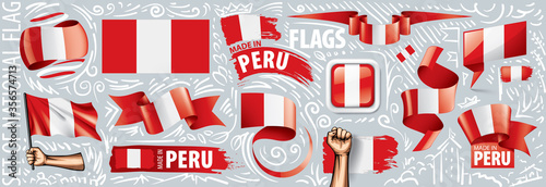 Photo Vector set of the national flag of Peru in various creative designs