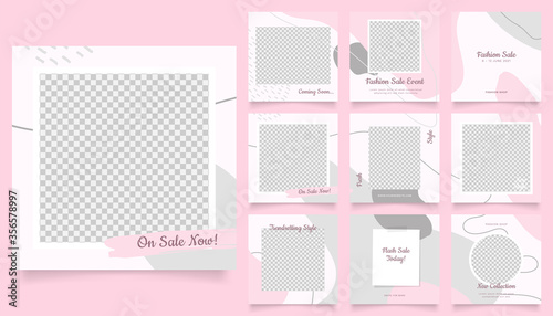 Obraz social media template banner fashion sale promotion. fully editable instagram and facebook square post frame puzzle trendy sale poster. red pink color background vector illustration - fototapety do salonu