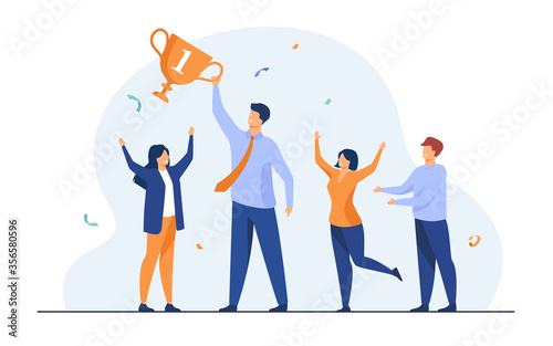 Fototapeta Teamwork and team success concept. Best employees winning cup, celebrating victory. Flat vector illustration for leadership and career achievement topics obraz