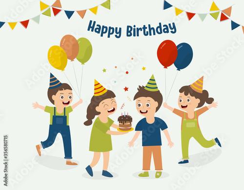 Fototapeta Children holding cakes, holding balloons, celebrate birthday pary.Vector illustration. Background happy birthday. obraz