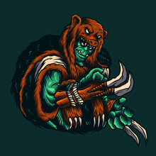 Vector Illustration Of An Orc Warrior With Claw, Fang, Mantel Bear On The Green Background. For Mascot Logo Design In Modern Illustration. Separate Layer And Editable. Print On T-shirt (COLOR VERSION)