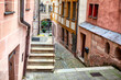 old town street with stairs , touristic medieval district in Bavaria