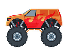 Monster Truck Vehicle, Red Jeep Car With Big Wheels, Heavy Professional Transport Vector Illustration