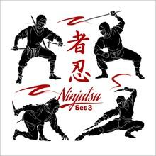 Ninja Warriors - Vector Set, Vector Silhouettes Isolated On White