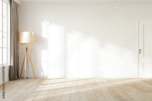 Fototapeta Blank white wall with a light from the window. Room mock up with a white wall, wooden floor lamp, white door and wooden floor. 3D illustration. obraz