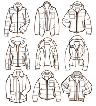 Collection Of Warm Winter Jackets (coloring Book)