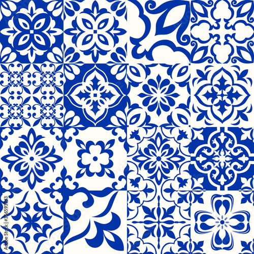 Obraz Azulejos in blue, white. Original traditional Portuguese and Spain decor. Seamless patchwork tile with Victorian motives. Ceramic tile in talavera style. Gaudi mosaic. Vector - fototapety do salonu