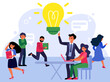 Office employees in hurry. Crowd of workers running in panic, manager having idea flat vector illustration. Time management and deadline concept for banner, website design or landing web page