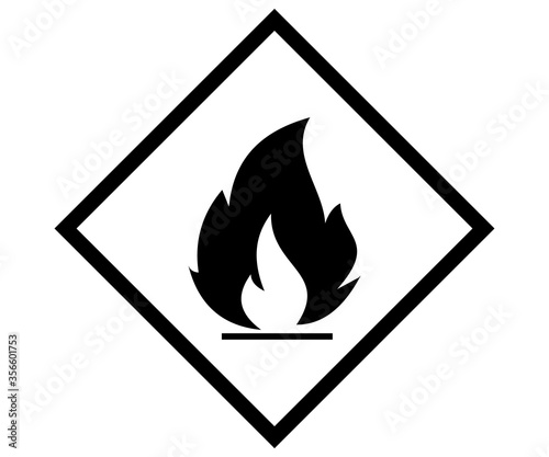 Canvastavla flame icon, inflammable label sign vector caution vector