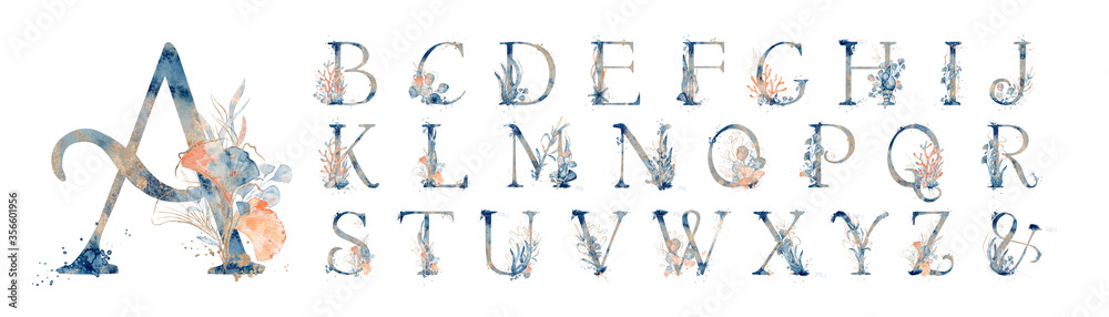 Fototapeta Watercolor blue marine english alphabet set with floral elements from A to Z hand drawn