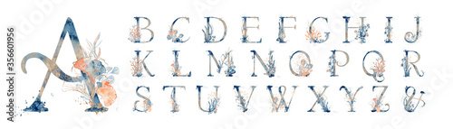 Leinwand Poster Watercolor blue marine english alphabet set with floral elements from A to Z han