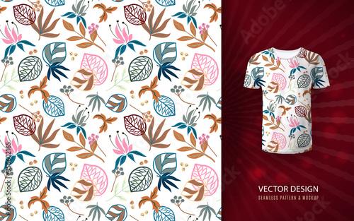 Fotografie, Obraz Vector pastel fantasy leaves seamless pattern