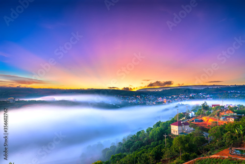 Fotografia, Obraz Beautiful dawn impressed by rays shine into sky shone misty valley covered all t