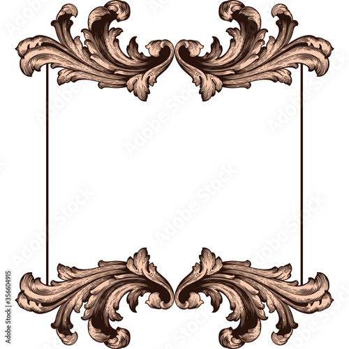 Obraz Classical baroque vector of vintage element for design. Decorative design element filigree calligraphy vector. You can use for wedding decoration of greeting card and laser cutting. - fototapety do salonu