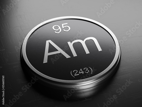 Americium element from periodic table on futuristic round shiny metallic icon 3D Wallpaper Mural