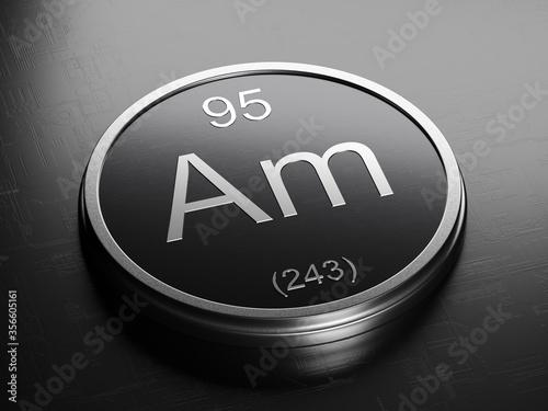 Photo Americium element from periodic table on futuristic round shiny metallic icon 3D