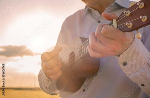 Fotografia, Obraz man playing ukulele in the countryside at sunset