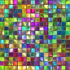 Fototapeta Na szklane drzwi i okna Stained glass seamless texture with square pattern for window, colored glass, 3d illustration