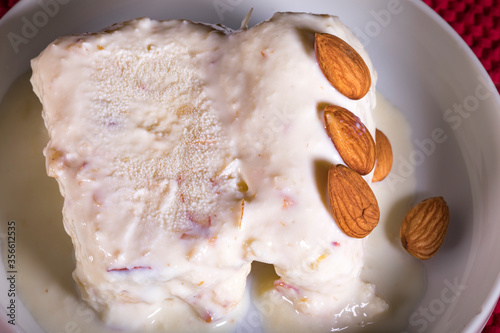 kulfi ice cream an indian delicacy falvoured with almonds and cashew #356612535