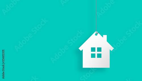 Photo casa, appesa con filo, agenzia immobiliare