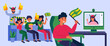 Football fans chatting to friend through video call. Sport team supporters with club accessory flat vector illustration. Fan club, leisure concept for banner, website design or landing web page