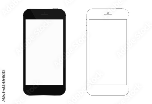 Foto Smartphone with white screen and wire frame graphic.