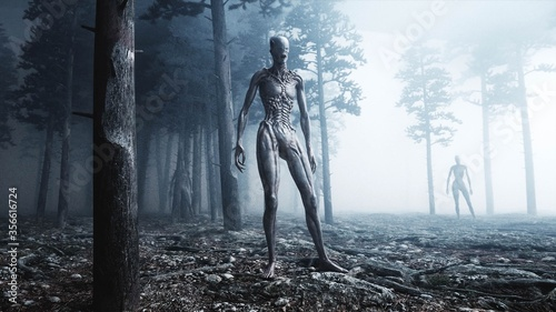 Fototapeta scary monster in fog night forest
