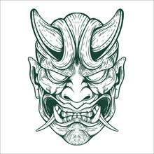Tattoo Oni Mask Artwork Illust...