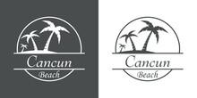 Símbolo Destino De Vacaciones. Icono Plano Texto Cancun Beach En Círculo Con Playa Y Palmeras En Fondo Gris Y Fondo Blanco