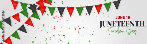 Fototapeta Juneteenth Freedom Day. 19 June African American Emancipation Day. Annual American holiday. Black, red, and green banner or header background with lettering. Vector illustration. obraz