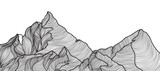 Mountains line arts vector. Abstract landscape background. Minimal wireframe monotone line wallpaper vector illustration. - 356624995