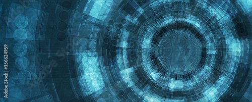 Blue grunge hi-tech and science background with HUD gears design. Futuristic abstract vector banner