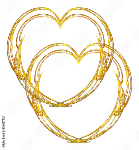 Fototapeta A romantic illustration of two delicate metallic gold filigree hearts entwined on a white background