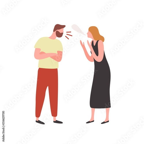 Bearded irritated guy and angry woman scream each other vector flat illustration Canvas Print