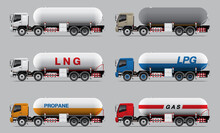 VECTOR EPS10 - Set Of Gas Tanker Truck Template, 4 Axle 12 Wheels Type, Isolate On Grey Background.