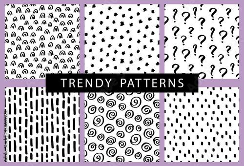 Obraz Vector seamless pattern set with brush doodle strokes, spots - fototapety do salonu