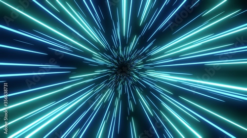 Photo Blue speed light abstract background. Sci-fi tunnel backdrop.