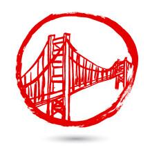 San Francisco Golden Gate Bridge Symbol. Red Hand-drawn Doodle Cartoon Illustration. Simple Flat Brush Ink Design.