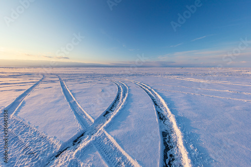 Foto The popular sights of Lake Baikal in Russia, the stunning winter landscape