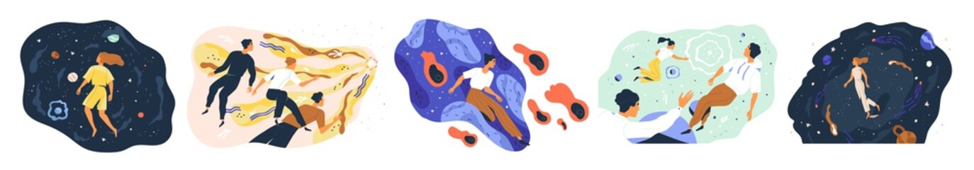 Set of people flying in space vector flat illustration. Collection of man and woman floating during exploration isolated. Concept of new user experience, new horizons and discoveries, new worlds
