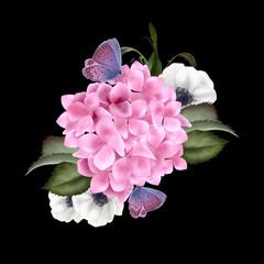 Naklejka Egzotyczne Beautiful wedding Bouquet with hydrangea flowers.