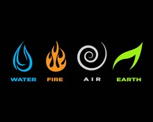 Four Elements Icons, Vector Lo...