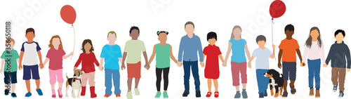Fotomural Group of multiethnic children walk together holding hands peacefully vector back